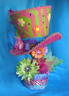 HUGE 2 foot tall MAD HATTER HAT CENTERPIECE Alice Top by LaDeeDah2, $175.00