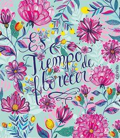 """Y la celebro todos los días 🌸 primavera entre nosotras... """"Es tiempo de florecer"""" . . . . #illustration #pattern #flores #flowers #bloom…"""