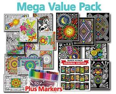 Mega Coloring Poster Value Pack – Line Art, Fuzzy Posters, & 50 Markers