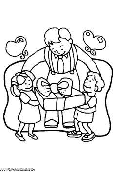 Dibujo Para Colorear Dia Del Padre Con Hijo E Hija Diario Mural