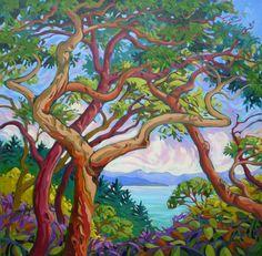 Pine Tree Painting, Forest Painting, Landscape Art, Landscape Paintings, Mermaid Island, Art Assignments, Canadian Artists, Art Techniques, Amazing Art