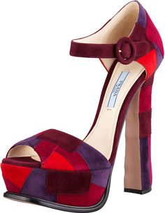 #Stunning Women Shoes #Shoes Addict #Beautiful High Heels #Wonderful Shoes    Prada ~ Patch-work Suede Dorsay