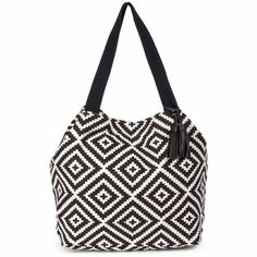 Women's Black White Oversize Canvas Tote With Tassel | Kat by Sole Society