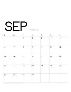 Printable September 2020 Calendar Monthly Planner Designs: Flowers & Modern} - A Piece Of Rainbow Calendar Themes, Printable Calendar 2020, Monthly Planner Printable, Free Printable Calendar, Kids Calendar, Calendar Pages, Planner Pages, Weekly Planner, College Planner