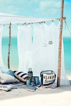 Picnic in style with our new arrivals from HM Home. Beach Tent, Beach Picnic, Summer Picnic, Beach Bum, Beach Party, Beach Camping, Coastal Style, Coastal Living, Combi Hippie