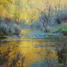 British Artist Rex PRESTON - Warm Reflections, Monsal Dale