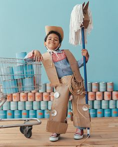 Howdy, pardner. To turn your kid into a charismatic cowboy, just rustle up some brown-paper grocery and trash-compactor bags.