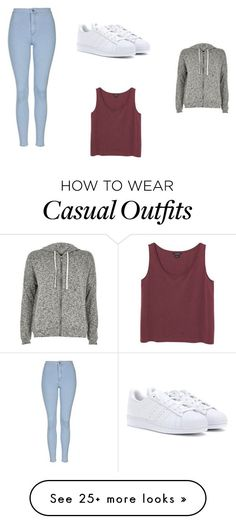 """Casual Hoodie Day"" by mavila028 on Polyvore featuring adidas, Topshop, River Island and Monki"