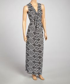 Loving this Black & White Geometrical V-Neck Maxi Dress on #zulily! #zulilyfinds