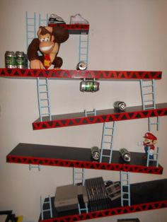 Perfect for a young boy's room.    Nintendo Donkey Kong Shelves #nintendo #donkeykong