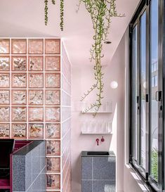 Yellowtrace on the Return of Glass Blocks — Biasol Interior Design 80s Interior Design, Australian Interior Design, Cafe Interior, Bathroom Interior Design, Interior Paint, Terrazzo, Apartment Painting, Glass Brick, Glass Walls