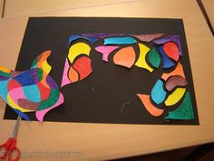 after making shape art cut apart and use as a puzzle or back it on black paper to make it pop! Classroom Art Projects, School Art Projects, Art Classroom, Elementary Art Rooms, Art Lessons Elementary, Puzzle Drawing, Puzzle Art, Artists For Kids, Art For Kids