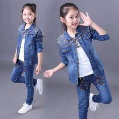26.25$  Buy here - https://alitems.com/g/1e8d114494b01f4c715516525dc3e8/?i=5&ulp=https%3A%2F%2Fwww.aliexpress.com%2Fitem%2FWholesale-retail-two-pieces-printed-jean-jacket-and-pants-children-fashion-sets-fall-girls-clothes%2F32724025281.html - Wholesale & retail two pieces printed jean jacket and pants children fashion sets fall girls clothes