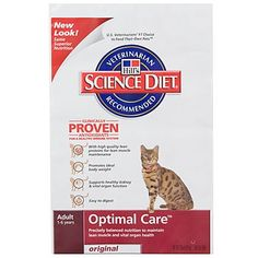 $12.49-$13.46 Hills's Science Diet is the #1 choice of U.S. veterinarians to feed their own pets. Hill's Science Diet Adult Optimal Care Original cat food provides precisely balanced nutrition to maintain vital organ health and lean muscles. It contains a precise balance of essential nutrients and clinically-proven antioxidants to maintain superior overall health and a strong immune system. It al ...