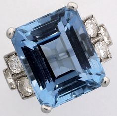 Art Deco Aquamarine & Diamond Ring