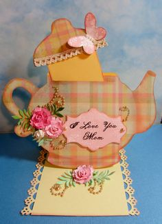 Teapot easel card.  This is what it looks like with the lid up.  I don't know how to pin 2 pics in one pin. lol