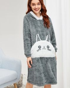 "7d63405e18 Fatima Boutique on Instagram  ""Cat Pattern Plush Hooded Dress Price  600 LE  Size  M L XL XXL Material  Cotton Code  FSH511 ---------------------   Winter ..."