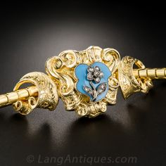 Victorian Gold, Enamel and Diamond Bracelet with Fitted Box - 40-1-4592 - Lang Antiques