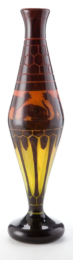 CHARLES SCHNEIDER LE VERRE FRANCAIS MONUMENTAL GLASS CHATS VASE Orange to yellow glass with violet overlay acid-etched in the Chats pattern, circa 1923.
