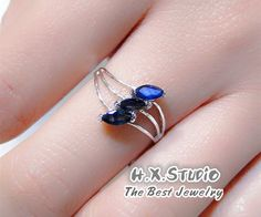 Genuine Blue Sapphire Sliver Ring, Birthdays, Wedding. Anniversary, Valentine, Bridemaid, Christmas, Mother's Day, Special Occasions