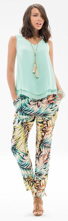 Haute Tropics - Get this look with our Layered Sleeveless Top, Tropical Tapered Trouser Pants, Lariat Tassel Necklace & Stacking Bangle Bracelets. Luau Outfits, Summer Outfits, Casual Outfits, Moda Tropical, Nicole Fashion, Trending Topic, Tropical Fashion, Warm Weather Outfits, Holiday Outfits
