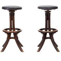 Industrial, crafts wood adjustable bar stools