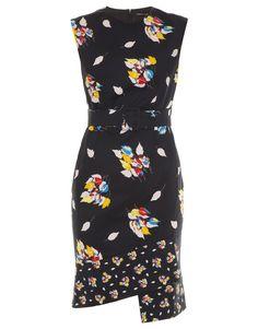 Vestido saia assimétrica com estampa floral em fundo dark
