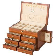 Ballester Wooden Jewelry Box Chest with Six Drawers  (JewelryBoxAvenue.com)