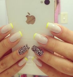 Love the nude and neon tip.... of course the LEOPARD makes it perfect