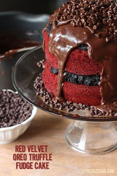 Red Velvet Oreo Truffle Fudge Cake