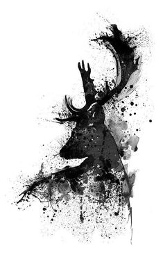 Black And White Painting – Black And White Deer Head Watercolor Silhouette by Ma… Schwarzweiss-Malerei – Schwarzweiss-Rotwild-Kopf-Aquarell-Silhouette durch Marian Voicu Poster Black And White, Black And White Art Drawing, Black And White Sketches, Black And White Wallpaper, Black And White Prints, Black And White Picture Wall, Black White, Hirsch Wallpaper, Deer Wallpaper