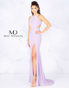 This sexy jersey Mac Duggal prom gown features side cut outs, boat neck collar and rhinestone waistband. The column skirt parts with a thigh high slit and falls down to a full lenght skirt with a sweep train. This gown comes in lilac or navy. Light Purple Prom Dress, Lavender Prom Dresses, Pretty Prom Dresses, Lilac Dress, Beautiful Dresses, Bridesmaid Dresses, Fitted Prom Dresses, Prom Dresses Two Piece, Formal Dresses