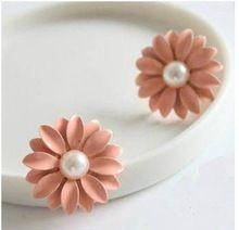 2014 Nova moda venda quente Daisy Pequeno Bela Flor Brinco Brinco ( rosa) 66E9(China (Mainland))