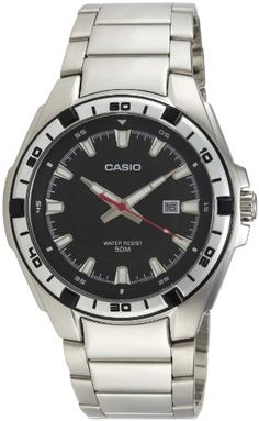 Men's Wrist Watches - Casio Mens MTP1306D1AV Silver StainlessSteel Quartz Watch with Black Dial -- You can get more details by clicking on the image.