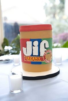 Peanut Butter Jar Cake!  Love this for Groom's, if they love peanut butter :)