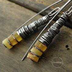 Amber earrings - sterling silver and amber earrings
