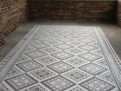 Modello Masking Patterns for Concrete Carpets and Floor Stenciling in Elegant Home Decor Design Stencil Rug, Stencil Concrete, Painted Concrete Floors, Painting Concrete, Stained Concrete, Stencil Painting, Painting Patterns, Floor Stencil, Plywood Floors