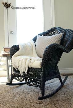 Restored Wicker Rocking Chair...paint my white wicker black?