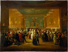 This painting was attributed to Grisoni on the ground of a quote by George Vertue in 1724 but does not really reflect Grisoni's art of painting, which tends to be highly finished and detailed. The scene represents a masquerade in the King's Theatre in Haymarket, a popular event during the 18th century that imitated bigger events such as the Venetian carnival.