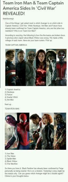 Teams of Captain America: Civil War.