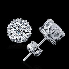 MUTO 925 Sterling Sliver Prata Fashion Jewelry 8MM Round 2 Carat Cubic Zirconia Silver Stud Earrings ED2632