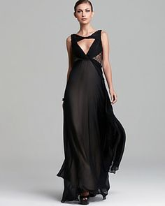 ABS by Allen Schwartz Open V Neck Gown - Sleeveless | Bloomingdale's