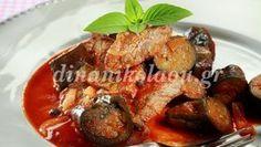 Μοσχάρι κοκκινιστό με μελιτζάνες French Toast, Food And Drink, Chicken, Meat, Breakfast, Breakfast Cafe, Buffalo Chicken, Cubs, Rooster