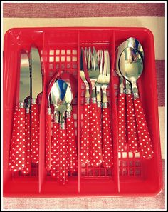 Brought to you by LG Studio I want this cutlery! Love the polka dots.