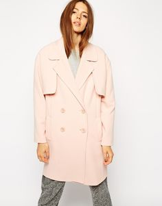 "Coat by ASOS Collection 64% Polyester, 30% Viscose, 6% Elastane Thick soft touch fabric Lapel notch lapel Double breasted cut Storm shields Cocoon oversized shape Our model wears a UK 8/EU 36/US 4 and is 170cm/5'7"" tall Machine wash/Hand wash/Dry clean"