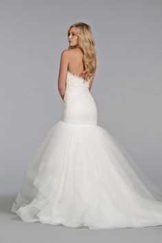 Style TK2400 > Bridal Gowns, Wedding Dresses > by Tara Keely > Shown Ivory Venise Lace elongated bodice & Sweetheart neckline with Scallop detail. Tiered Tulle skirt with Horsehair Trim & Chapel Train (back)