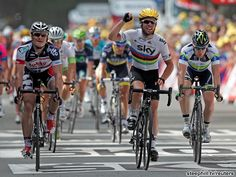 Mark Cavendish celebrates his 21st career Tour de France stage win and his first this year #tdf2012 #letour #stage2