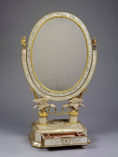 Mother of pearl dressing mirror with drawer containing full compliment of matching tools. Vienna, ca. 1821 possibly by Karl Schmid