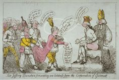 """""""Sir Jeffery Dunstan presenting an address from the Corporation of Garratt""""; showing William Pitt enthroned on a close-stool, receiving a deputation from the Corporation of London dressed as ragamuffins; by Thomas Rowlandson, 1788."""