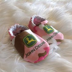 Pink camo John Deere baby shoes with genuine leather soles